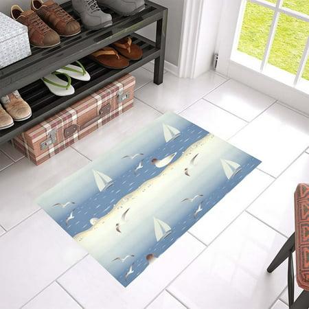 MKHERT Sailboat And Seagulls Doormat Rug Home Decor Floor Mat Bath Mat 23.6x15.7 inch