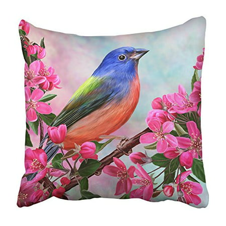 CMFUN Blue Blossom of Bird on Branch Apple Green Paradise Animal Beak Beauty Bright Pillowcase Cushion Cover 18x18 inch