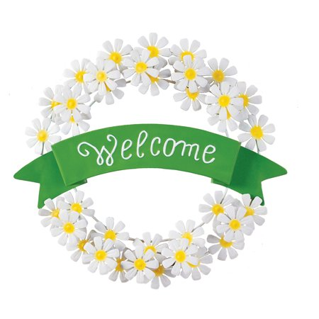 White Daisy Welcome Metal Wreath Spring Door Decoration for Foyer or Any Room in Home