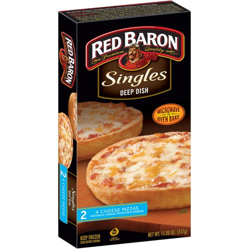 Red Baron Singles Deep Dish 4 Cheese Pizzas, 11.2 oz, 2 count