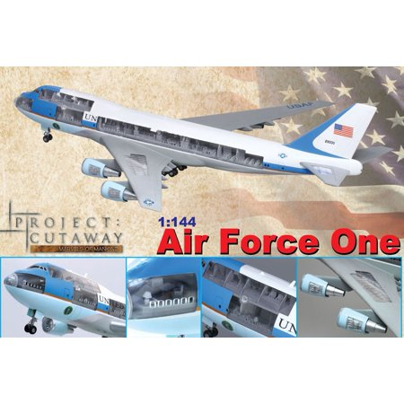 1/144 Visible 747-400 Air Force One Airliner (prepainted & partially assembled) w/Cutaway Views - image 1 de 1