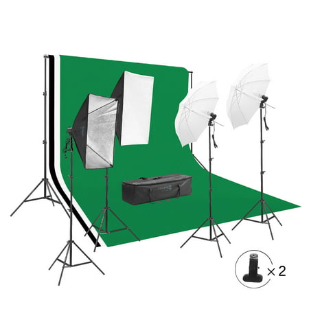 Square Perfect Photography Studio LED Lighting and Background Kit Four Backdrops