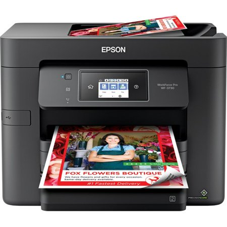 Epson WorkForce Pro WF-3730 Inkjet Multifunction Printer - Color - Copier/Fax/Printer/Scanner - 4800 x 2400 dpi Print - Automatic Duplex Print - 1200 dpi Optical Scan - 500 sheets Input - Fast