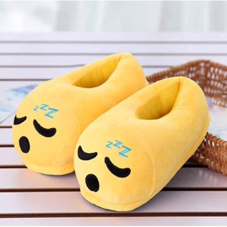 Cute Sleepy Emoji Sleep Slippers Plush Cotton Soft Warm Comfortable Indoor  Bedroom Shoe For Big Kids & Women With Non-Skid Footpads