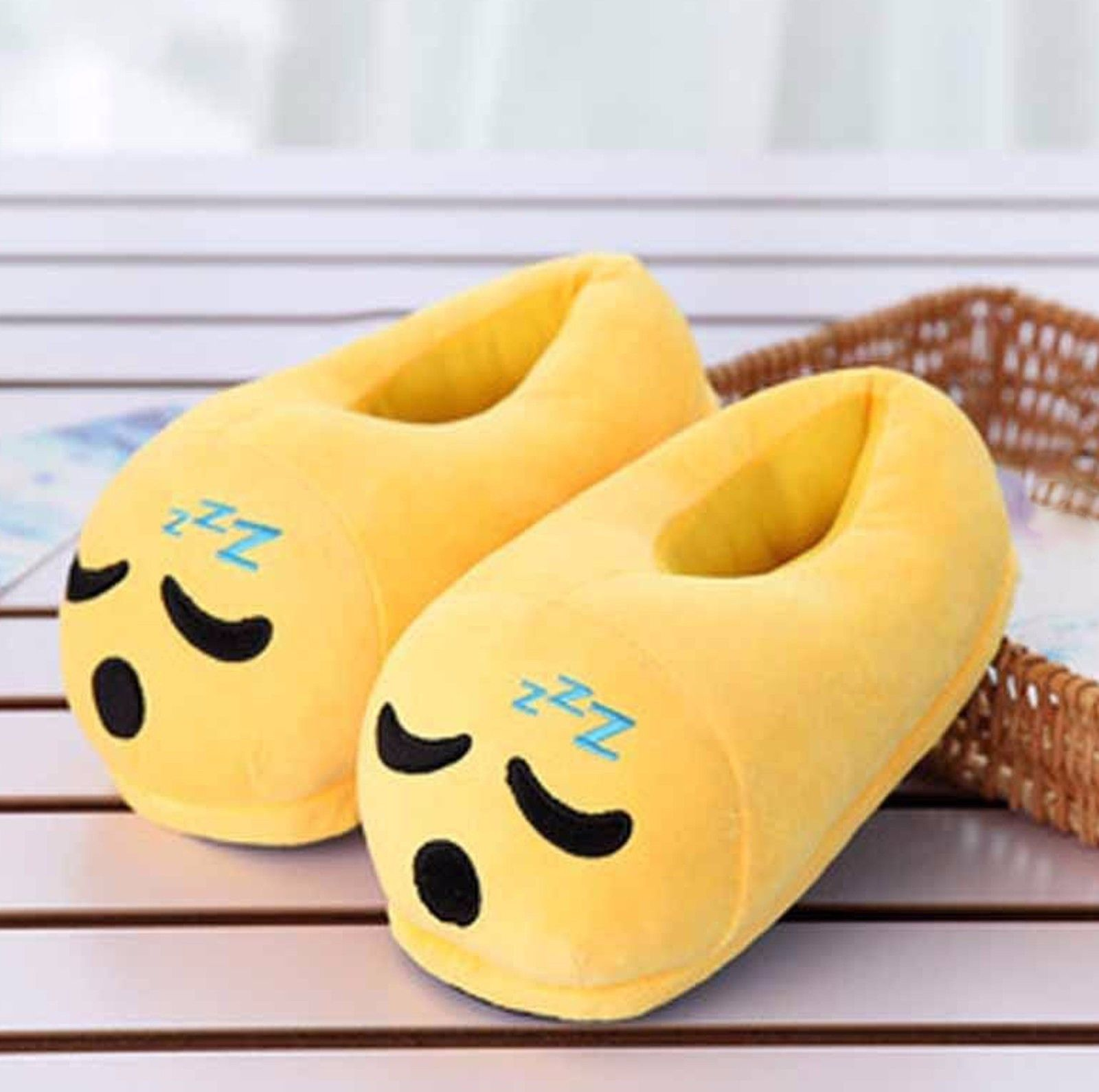 Cute Sleepy Emoji Sleep Slippers Plush Cotton Soft Warm Comfortable Indoor Bedroom Shoe For Big Kids & Women With Non-Skid Footpads New