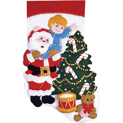 "Reach For The Star Stocking Felt Applique Kit, 16"" Long"