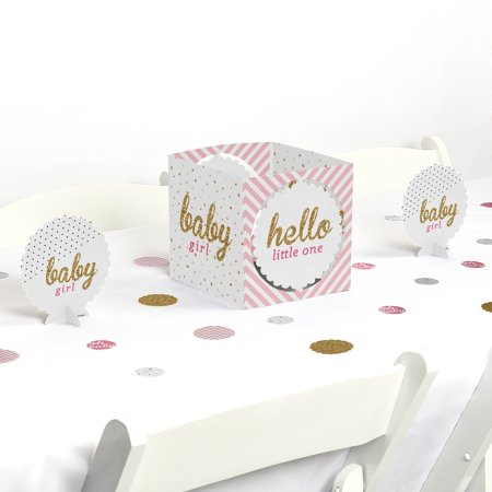 Baby Shower Decorating Kit (Hello Little One - Pink and Gold - Girl Baby Shower Party Centerpiece & Table Decoration)