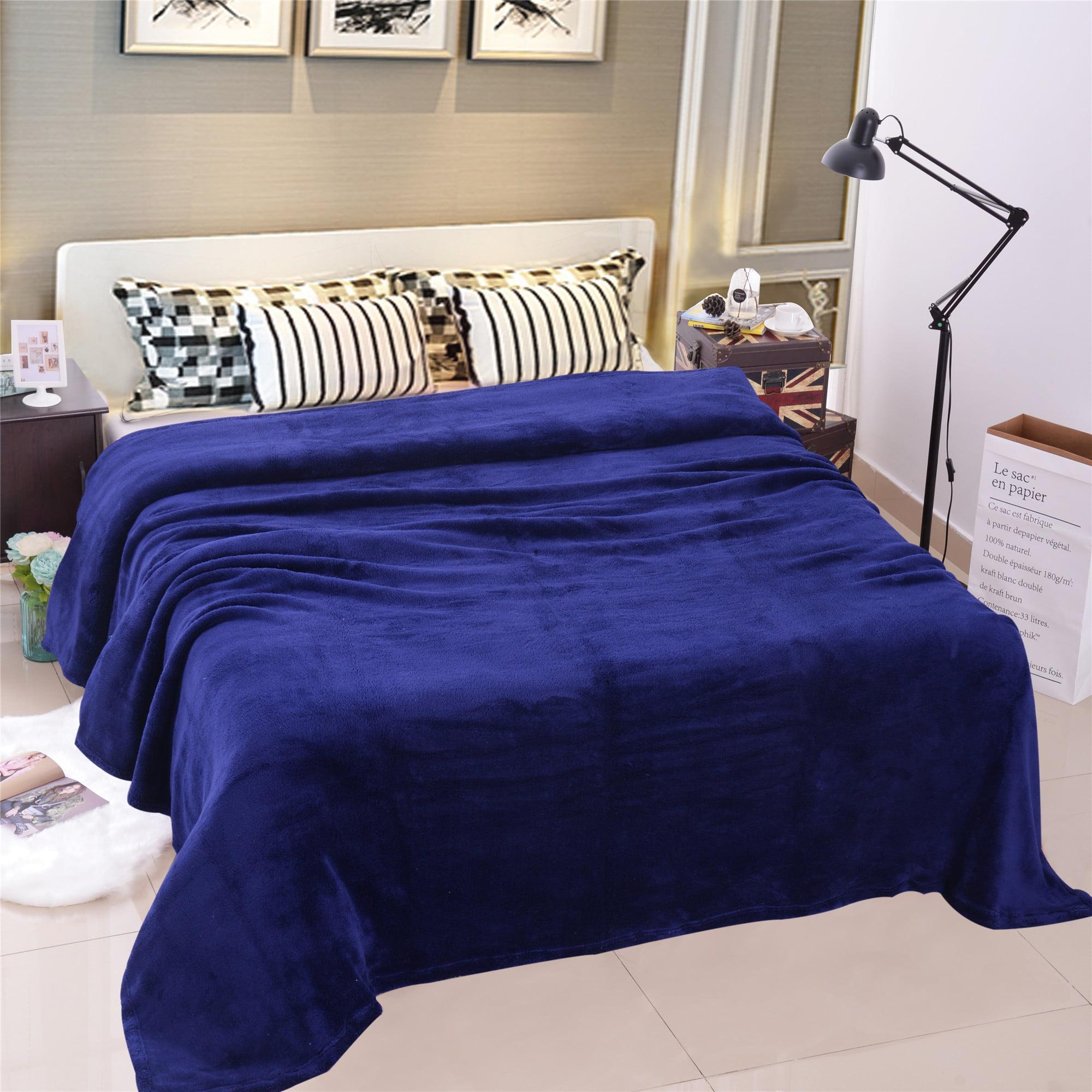 Home Bedroom Microfiber Plush Fleece Blanket Large Solid Lightweight Warm Throw Blanket... by JML