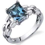 1.75 Ct London Blue Topaz Engagement Ring in Rhodium-Plated Sterling Silver