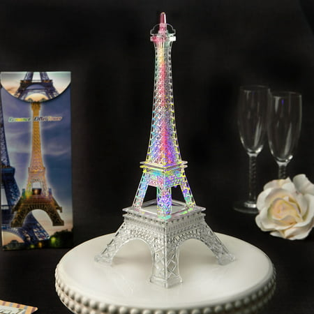 12 Eiffel tower centerpiece in clear acrylic plastic with colorful LED (Lighted Tower Display)
