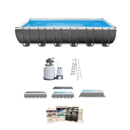 "Intex 24'x12'x52"" Ultra Frame Rectangular Above Ground Pool & Winterizing Kit"