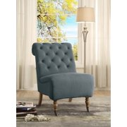 Linon Cora Tufted Slipper Chair, Washed Linen, 20 inch Seat Height, Multiple Colors