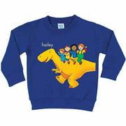 Personalized Caillou Dinosaur Ride Boys' Royal Blue Pullover Sweatshirt