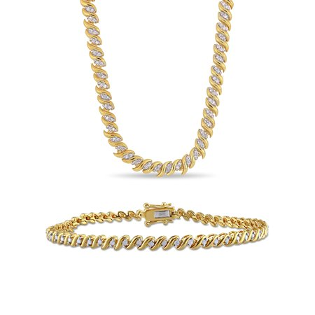 Miabella 1-1/2 Carat T.W. Diamond Yellow-Plated Sterling Silver Tennis Necklace and Bracelet 2-Piece Set Diamond Accent Bracelet And Necklace