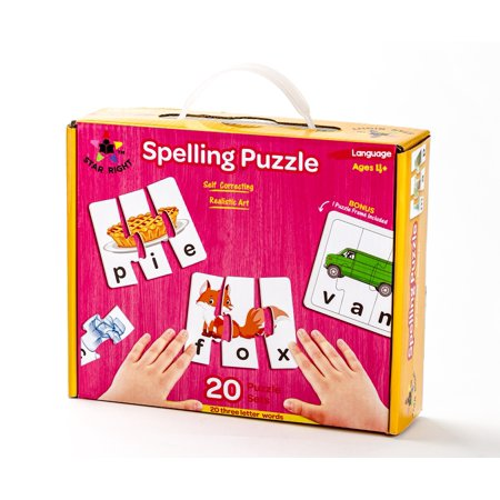 "Star Right Self-Correcting ""3-Letter Words"" Spelling Puzzle with Realistic Art to Set of 20 (40 pieces) with 1 Puzzle Frame Included - Walmart.com"