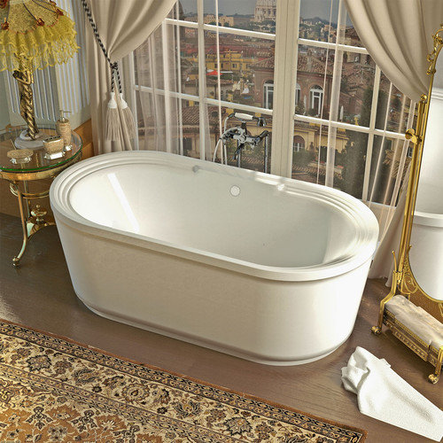 Spa Escapes Royal 66.87'' x 33.62'' Oval Freestanding Soaker Bathtub with Center Drain