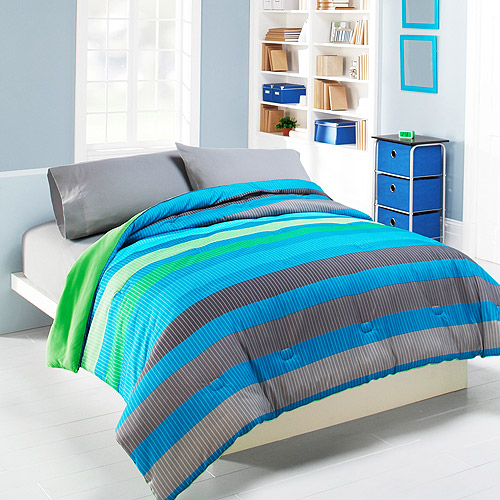 Mainstays Rugby Stripe Comforter, Green and Blue