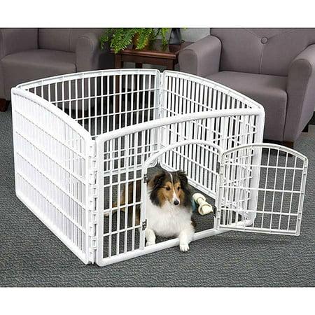 IRIS 24\'\' Exercise 4-Panel Pet Playpen with Door, White - Walmart.com