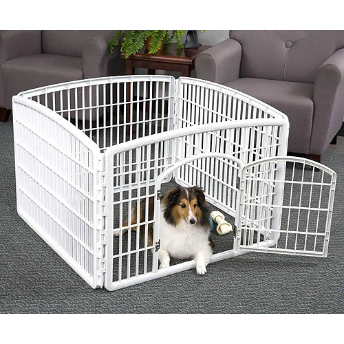 "IRIS 4 Panel Indoor/Outdoor Pet Pen Containment W35""xL35""xH24"", White"