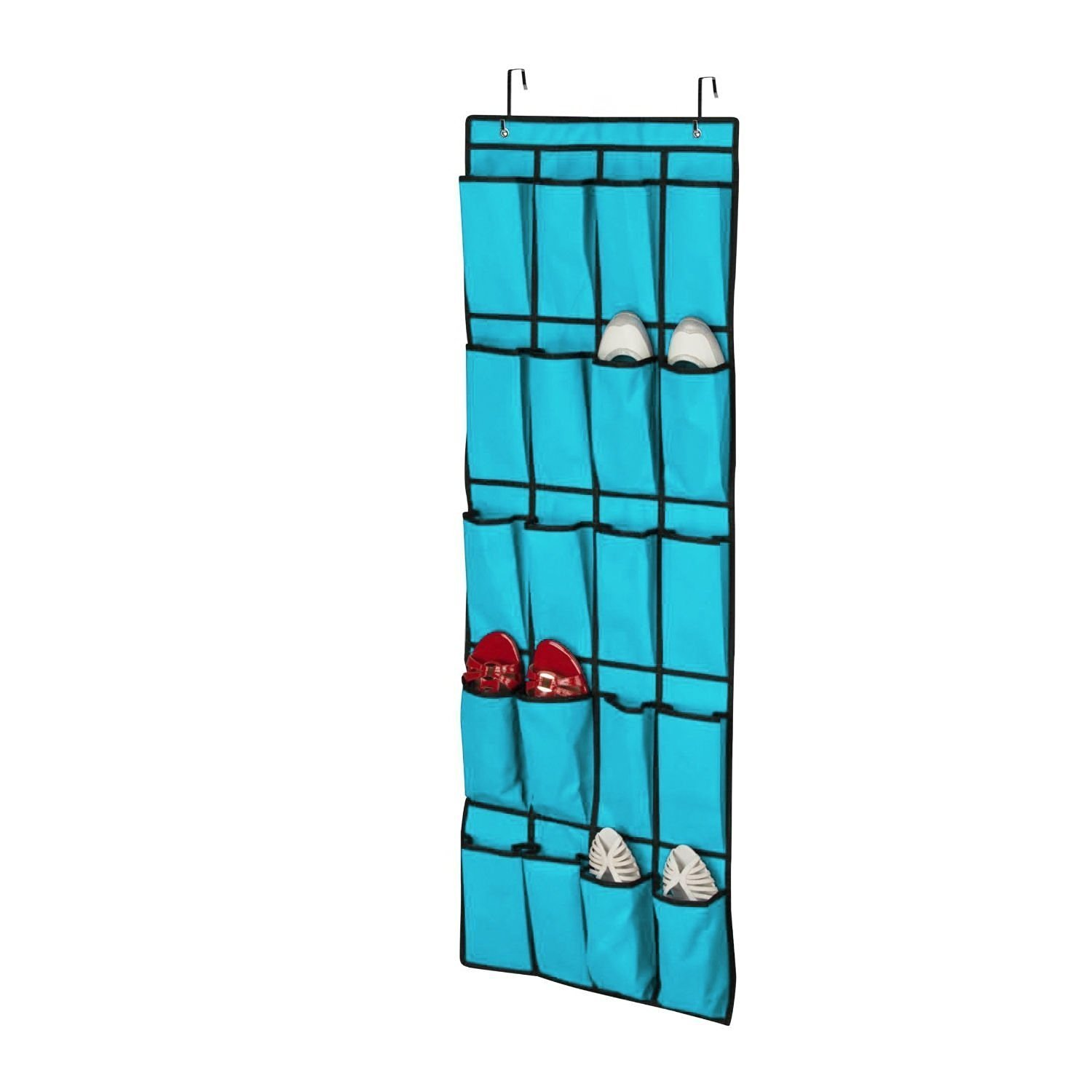 EEEKit 20 Pocket Over The Door Shoe Organizer Collection Space Saver Rack  Hanging Storage(Blue