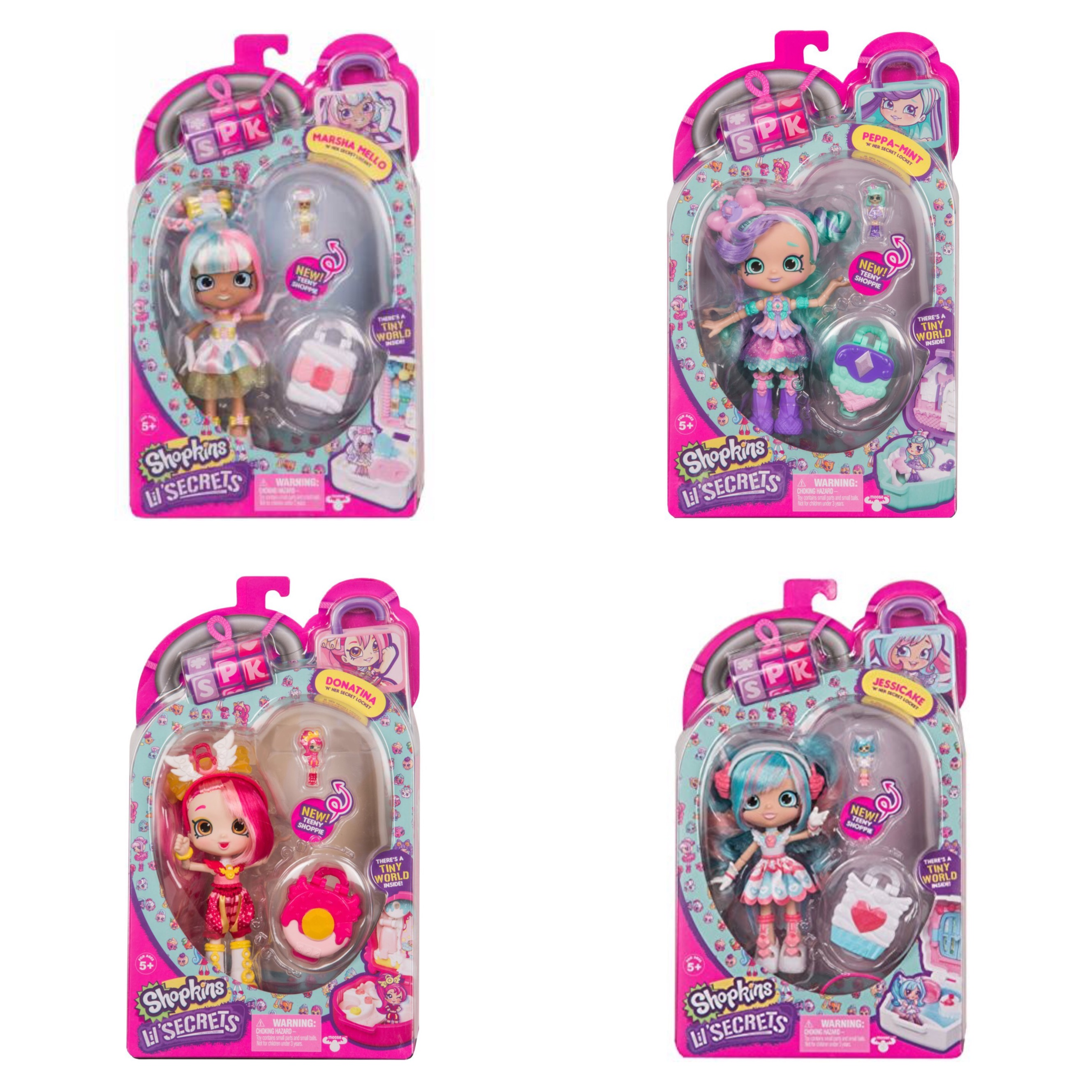Shopkins Lil Secret Shoppies Peppa Mint, Marsha Mello, Jessicake & Donatina Lot