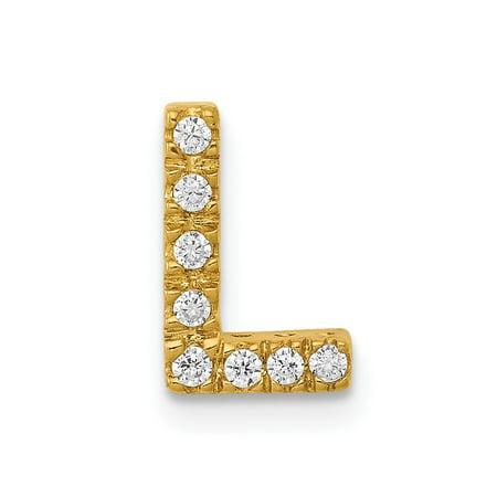Roy Rose Jewelry 14K Yellow Gold Diamond Initial L Charm Pendant 1/12-Carat