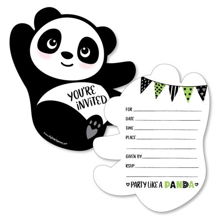 Party Like a Panda Bear - Shaped Fill-In Invitations - Baby Shower or Birthday Party Invitation - 12 Ct