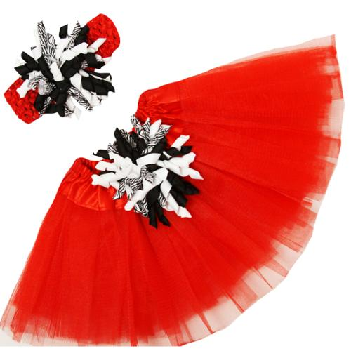 Girls Black Red Tutu Korker Bow Headband Gift Set 0-8Y