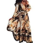 FOCUSNORM Women's Elegant Wrap Split Floral Print Flowy Party Maxi Dress