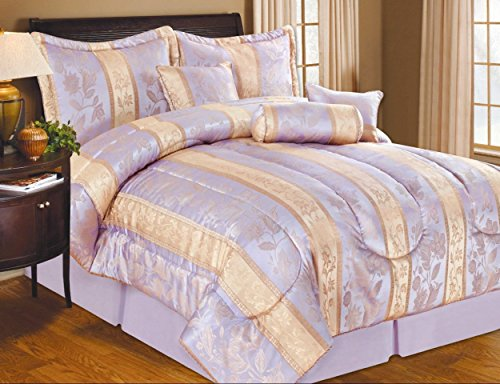 7 Piece Soho Hotel Collection Comforter Set   4 Colors (KING, PURPLE)
