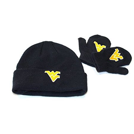 NCAA Licensed Infant / Toddler Knit Beanie Hat Cap Lid and Mitten Set (West Virginia Mountaineers) (Toddler Hats Lids)