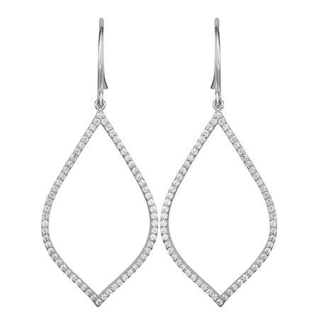Cubic Zirconia Open Teardrop Dangle Earring in Sterling Silver Sterling Dangling Earring