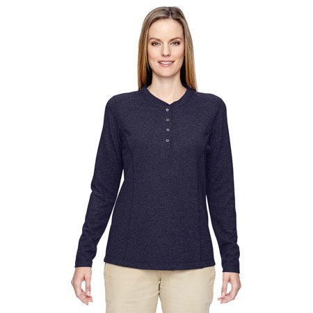 Ash City 78221 Ladies Excursion Performance Waffle Henley -Navy -XS