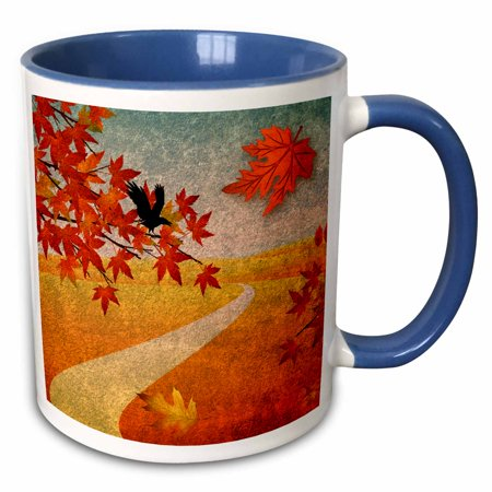 3dRose Autumn Park Path Maple Leaves and Crow - Two Tone Blue Mug, 11-ounce