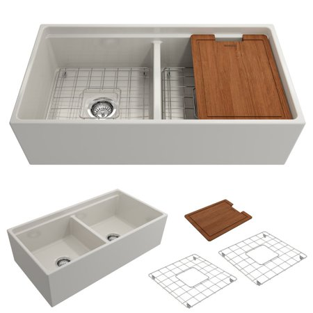 BOCCHI Contempo Apron Front Step Rim Fireclay 36 in. Double Bowl Kitchen Sink with Protective Bottom Grid and Strainer in Biscuit