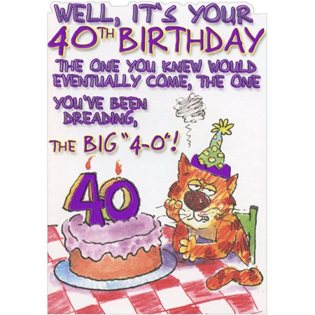 Designer Greetings Cat Dreading The Big 4 0 Funny Age 40 40th Birthday Card