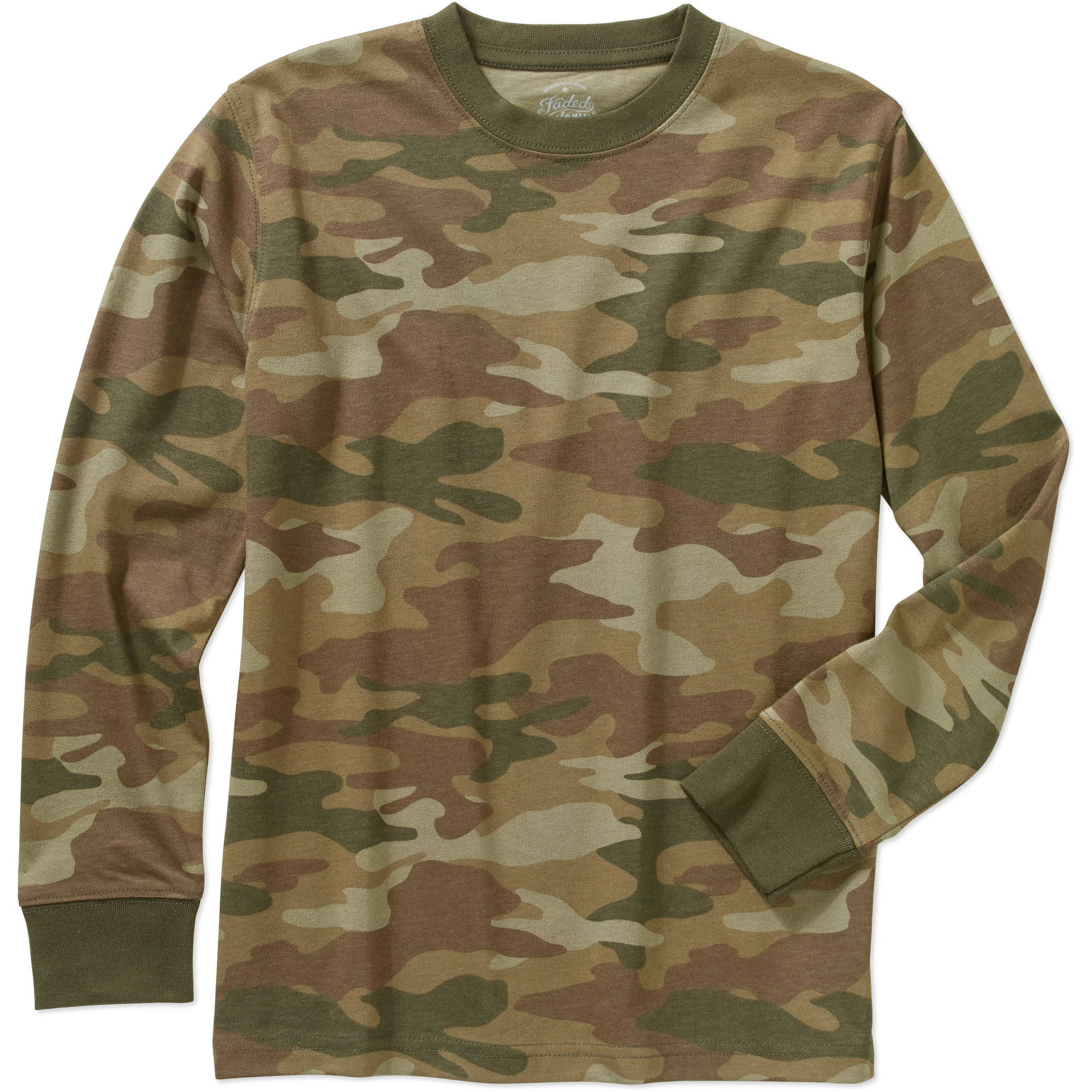 Faded Glory Boys' Cotton Long Sleeve Crew Neck Camo Tee