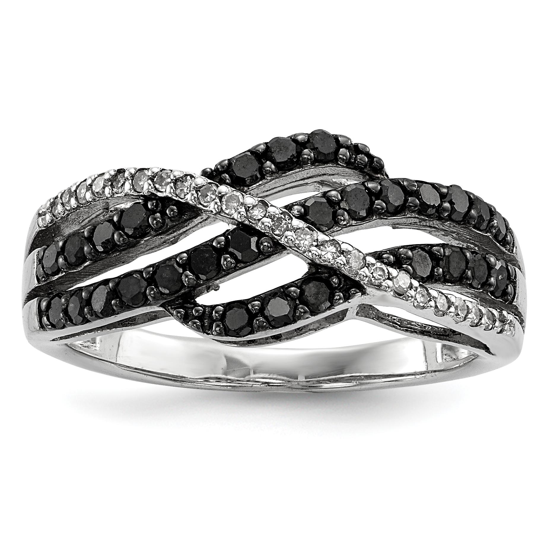 Sterling Silver Black & White Diamond Ring Size 8 - image 1 de 3