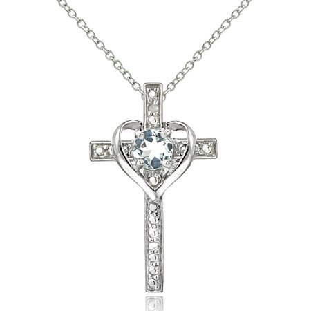 Nike Heart Cross (Sterling Silver Aquamarine & Diamond Accent Cross Heart Necklace )