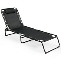 Gymax Foldable Lounge Chaise Adjustable Patio Camping Cot w/ Pillow Beach Pool Black