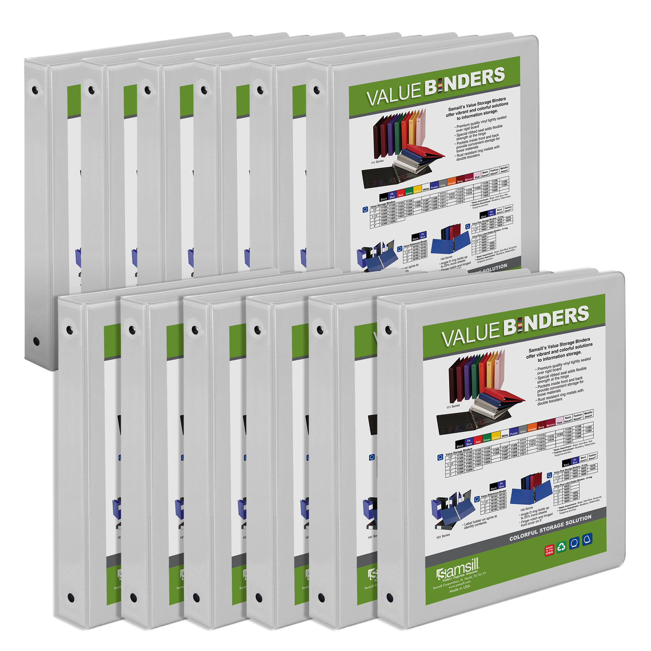 """Samsill Economy 1"""" Round Ring View Binders, White, 12 Pack by SAMSILL CORPORATION"""