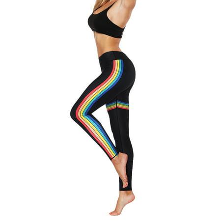Tuscom Women Fashion High Elasticity Print Rainbow Leggings Gym Active Pants