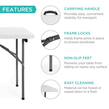 Best Choice Products 4ft Indoor Outdoor Portable Folding Plastic Dining Table w/ Handle, Lock for Picnic, Party, Camping