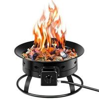 Goplus Portable Fire Pit Outdoor 58,000 BTU Propane Patio Lava Rocks Camping Events