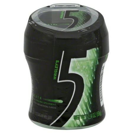 5 Gum Spearmint Rain Sugarfree Gum, 50 piece bottle