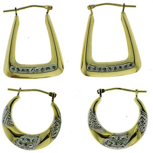 Crystal Accent 18kt Gold over Sterling Silver Hoop Earrings Set