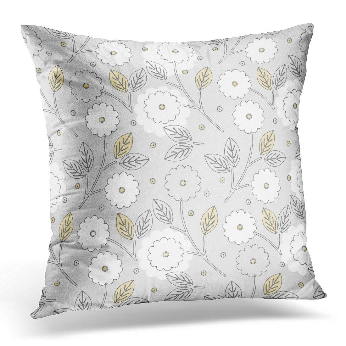 CMFUN Colorful Abstract Beautiful with Flowers and Leaves Kids Pattern Fills and More Creative Designs White Pillow Case Pillow Cover 20x20 inch