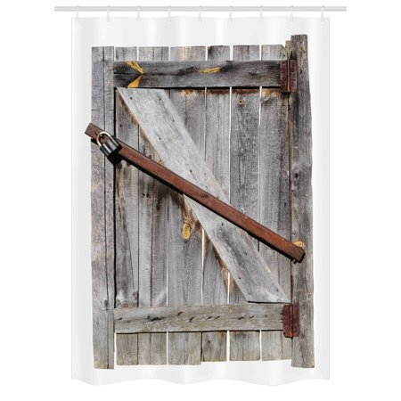 Rustic Stall Shower Curtain Aged Wood Barn Door With Rusty Crossed Locks Abandoned Ancient Western