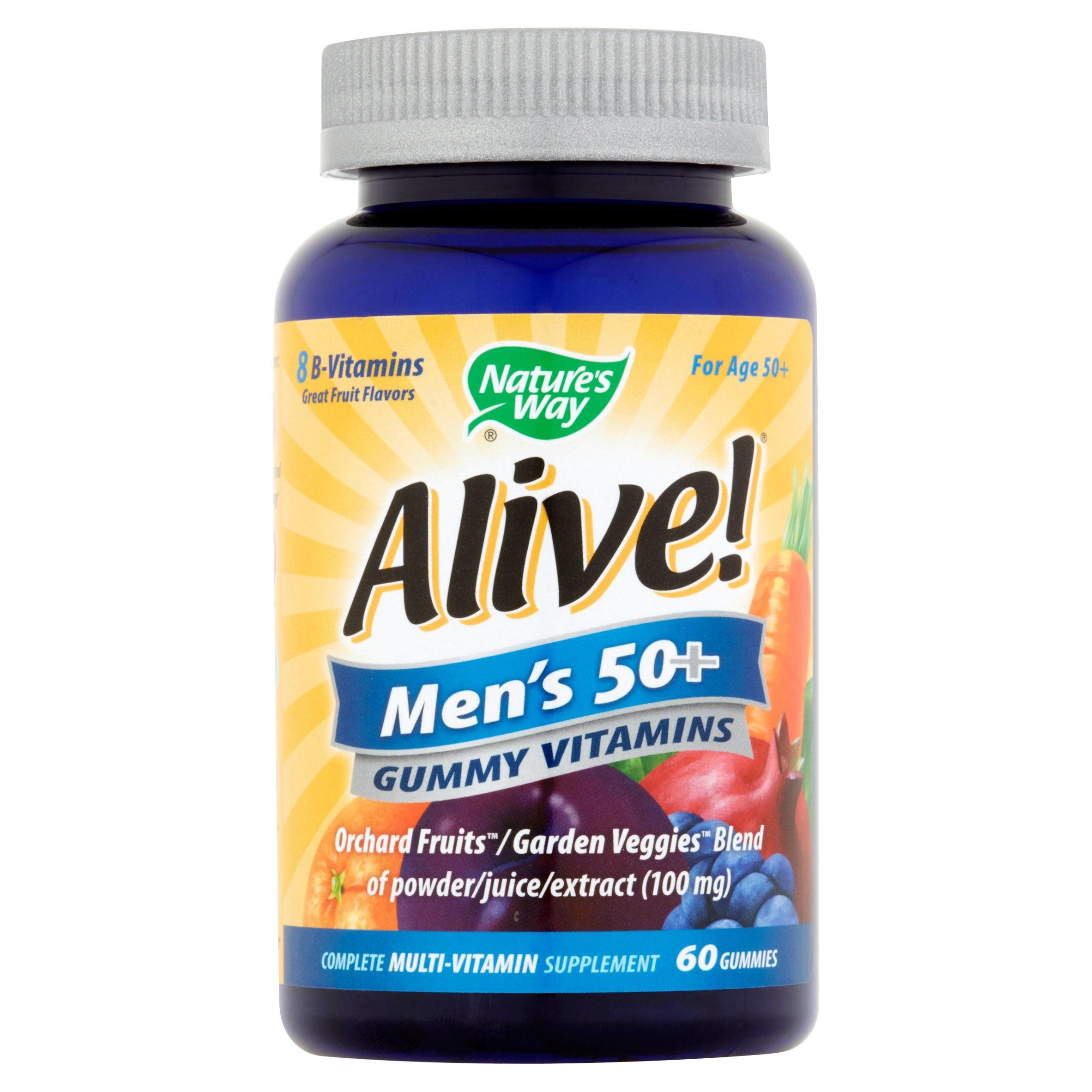 Natures Way Alive! Mens 50+ Gummy Vitamins Multivitamin Supplements 60 Count