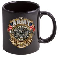 Coffee Cup with Army Men - American Soldier Gold Shield Logo on a Stoneware Mug